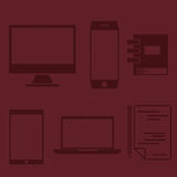 design office elements and computer ,tablet, laptop and sma Royalty Free Stock Photos
