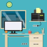 Design Office, Workspace. Interior workplace office in a modern style Royalty Free Stock Image