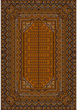 The design of the old carpet in brown and orange colors. Luxurious vintage oriental rug with original pattern with  brown and orange shades Royalty Free Stock Photos
