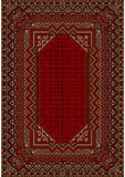 The design of the old carpet in red tones Stock Photo