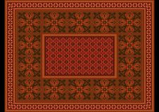 Design orange brown carpet with ethnic ornaments and  burgundy patterns on in the center. Luxurious terracotta carpet with ethnic ornaments and  burgundy Royalty Free Stock Image