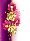 Design with orchids. Design with gold and bright pink orchids on pink textural background. Design with orchids. Golden Orchid. Design with flowers jewelry Royalty Free Stock Photos