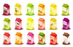 Design of packing milky products. With fruit Royalty Free Stock Photos