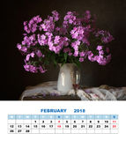Design page calendar February 2018. Bouquet of phloxes. Stock Images