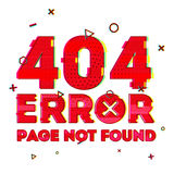 Design a page with error 404 page not found. Error 404 is a glitch and noise style. Design banner in red and vhs effect Stock Photos