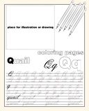 Design_17_the page layout of the English alphabet to teach writing upper and lower case letters with a place to insert an. Vector design page layout of the royalty free illustration