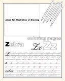 Design_26_the page layout of the English alphabet to teach writing upper and lower case letters with a place to insert an. Vector design page layout of the royalty free illustration
