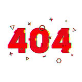 Design page 404 page not found. Error 404 red in glitch and noise style. banner design error page in red and vsh effect Stock Photo
