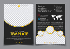 Design 2 pages of A4 black with yellow elements. royalty free illustration