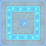 Design Paisley headscarf. Blue palette Royalty Free Stock Photos