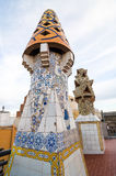 Design of the Palace Guell roof - Gaudi Chimney. stock image