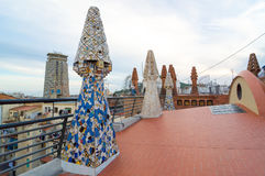 Design of the Palace Guell roof - Gaudi Chimney. Royalty Free Stock Image