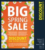The design of the paper poster for the promotion is a spring sale of bright daisies on a orange background. Spring. Template for your design, cards, invitations Stock Photo