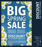 The design of the paper poster for the promotion is a spring sale of bright daisies on a sky blue background. Spring. Template for your design, cards Royalty Free Stock Image