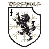 Design patch. Heraldic shield with a Werewolf, Helm of Awe and rune Wolfsangel Royalty Free Stock Images