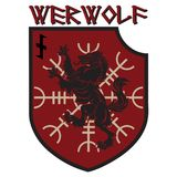 Design patch. Heraldic shield with a Werewolf, Helm of Awe and rune Wolfsangel. Isolated on white, vector illustration Royalty Free Stock Images