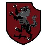 Design patch. Heraldic shield with a Werewolf, Helm of Awe and rune Wolfsangel Stock Photo