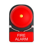 Design Pattern of Red Fire Alarm isolated on white. 3d illustration Royalty Free Stock Images