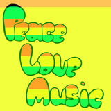 Design of Peace, Love and Music in bubble style in green, yellow and red colors. Vector illustration. Design of Peace, Love and Music in bubble style in green royalty free illustration
