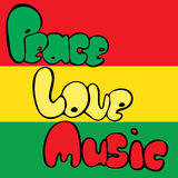 Design of Peace, Love and Music in bubble style in green, yellow and red colors. Vector illustration. Stock Photography