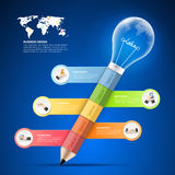 Design pencil with lightbulb Infographics tamplate. Business concept infographic Royalty Free Stock Photos