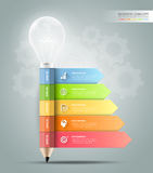 Design pencil with lightbulb Infographics tamplate. Business concept infographic Royalty Free Stock Images