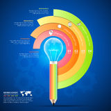 Design pencil with lightbulb Infographics tamplate. Stock Photography