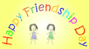 Design in pencil with two sketchy colored girls on bright yellow background. Vector art for card to celebrate the. Friendship day with colorful stylish wish Royalty Free Stock Photos
