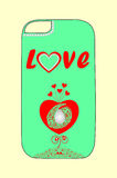 Design phone cover with hearts for young lovers Stock Images