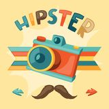 Design with photo camera in hipster style Stock Images
