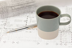 Design plan with coffee Stock Image