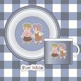 The design of the plates and mugs for children. Stock Photos