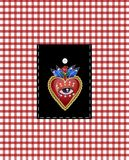 Design pocket with traditional Mexican hearts with fire and flowers, embroidered sequins, beads and pearls. Vector patches. Design pocket with traditional Royalty Free Stock Image