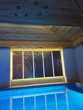 Design of pool and spa in modern hotel in ski resort Bukovel. Beautiful  hotel  ski resort  chalets  bukovel carpathian s  carpathians ukraine amazing winter stock photography