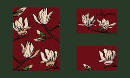 Design postcard, business card or invitation. Hand drawn style. Magnolia twigs royalty free illustration