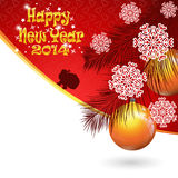 Design of postcard for New Year 2014 and Christmas. Abstract design of New Year and Merry Christmas postcard with New Year tree branch and Santa Claus walking Royalty Free Stock Image