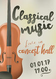 Design of a poster for a concert of classical music with violin Royalty Free Stock Photo