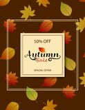 The design of the poster for the fall discount on dark brown bac. Kground. Vertical Autumn banners. Autumn Sale 50 off. Vector illustrations for flyers, banners Royalty Free Illustration