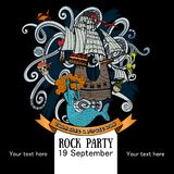 Design of a poster for a rock party for a holiday Talk like a Pirate Day Royalty Free Stock Images