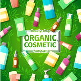 Design posters, brochures and banners of organic cosmetics bottles. Organic cosmetics for skin care. On the bright green Royalty Free Stock Photo