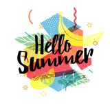 Design print for summer season. Abstract background with silhouettes fruit, lemon, strawberry and mint, geometric. Particle. Text hello summer on grunge modern Royalty Free Stock Photography