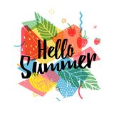Design print for summer season. Abstract background with silhouettes fruit, lemon, strawberry and mint, geometric. Particle. Text hello summer on grunge modern Stock Photos