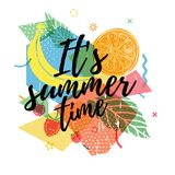 Design print for summer season. Abstract background with silhouettes fruit, lemon, strawberry and mint, geometric. Particle. Text hello summer on grunge modern Royalty Free Stock Images
