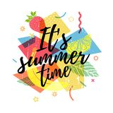 Design print for summer season. Abstract background with silhouettes fruit, lemon, strawberry and mint, geometric. Particle. Text hello summer on grunge modern Stock Photography