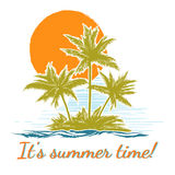 Design print for summer t-shirt with palm trees Royalty Free Stock Photo
