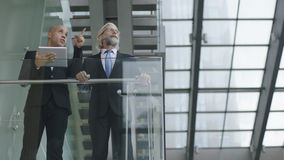 Design professionals having a discussion in modern building. Two design professionals standing in modern glass and steel building having a discussion using Stock Images