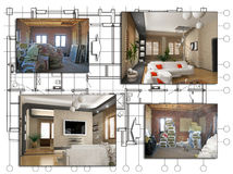 The design project. The design of apartment project (before and after royalty free illustration