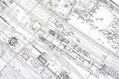 Design and project drawings. Black and white dimensional drawing rotated perspective. General plan of plant Stock Image