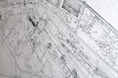 Design and project drawings. Black and white dimensional drawing are in turned perspective Stock Image