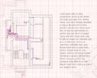Design project of heating. Construction blueprint. Sketch technical drawings in graph paper. vector illustration